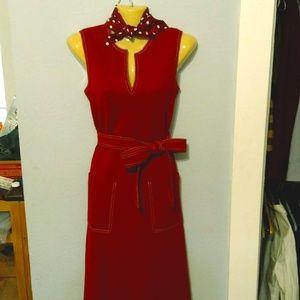Vintage Dark Red Sheath Dress with Matching Scarf
